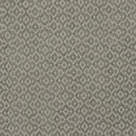 Isamal - Dark Olive - Cotton, viscose and polyester blend fabric in light grey and grey-green with a repeated pattern of jagged diamond shap
