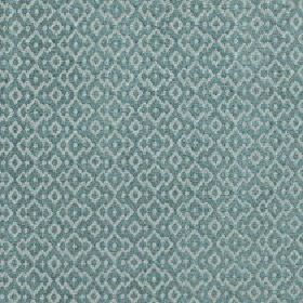 Isamal - Dusky Turquoise - Fabric made from cotton, viscose and polyester with a repeated jagged diamond shape pattern in icy blue and light