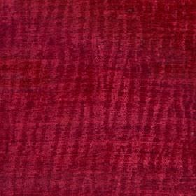 Lexi - Redrose - Subtle uneven vertical lines creating a random dark red pattern on bright claret coloured 100% polyester fabric