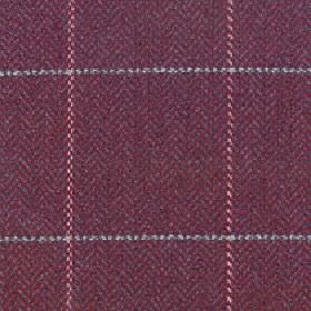 Kersey - Rosewood - Maroon coloured fabric blended from merino wool and nylon behind a simple grid pattern in light shades of pink and grey
