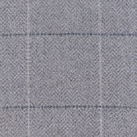 Kersey - Silver Cloud - A light and dark grey coloured grid woven into a mid-grey herringbone style patterned fabric made from merino wool and n