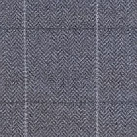 Kersey - Pewter - Herringbone patterned fabric made from merino wool and nylon with a simple grid pattern in dark and light shades of grey