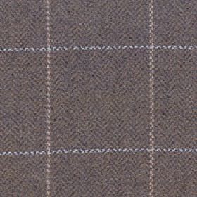 Kersey - Bracken - Brown, grey, white and beige merino wool and nylon blend fabric with a herringbone pattern behind a large, simple grid