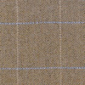 Kersey - Ochre - Speckled merino wool and nylon blend fabric behind a simple grid design in light blue and shades of brown and beige