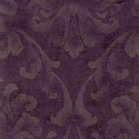Helios - Aubergine - A large leafy pattern printed patchily in a light beige colour on aubergine coloured cotton and viscose blend fabric