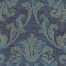 Helios - Sapphire - A large leafy design printed ingrey and dusky blue on an Air Force blue coloured cotton and viscose fabric background