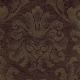 Helios - Chocolate - Light gold and chocolate brown coloured cotton and viscose blend fabric featuring a patchily printed large leafy design