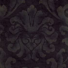 Helios - Ebony - Cotton and viscose blend fabric made in very dark purple-grey with a large leafy design printed patchily in grey-green
