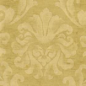 Helios - Gold - Fabric made from cotton and viscose with a patchily printed large leafy design in honey and gold colours