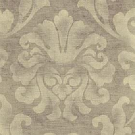 Helios - Natural - A cream coloured large leafy design printed patchily on aplain beige cotton and viscose blend fabric background