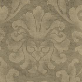Helios - Oyster - Light shades of gold and beige making up a patchily printed large leafy design on fabric made from cotton and viscose