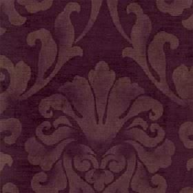 Helios - Plum - Plum coloured cotton and viscose blend fabric printed with a patchy, large leafy design in a light, warm brown colour