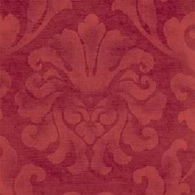 Helios - Russet - Cotton and viscose blended together in two bright shades of red with a large leafy design which has been printed patchily