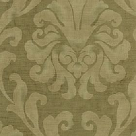 Helios - Sage - Fabric made from cotton and viscose in light and dark shades of olive green with a patchily printed large leafy design