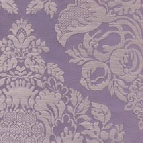 Cecile - Zinc - Cotton and polyester blend fabric made in pewter and purple colours with a large design of patterns, flowers and leaves