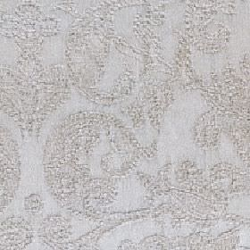 Amelia - Oatmeal - Silvery grey coloured cotton and viscose blend fabric patterned with a subtle, large pattern of slightly textured swirls