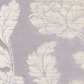 Jasmine - Atmosphere - Large ivory-white coloured leaves printed on a light grey coloured cotton and polyester blend fabric background