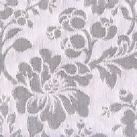 Rosalie - Cobble Stone - Icy grey coloured cotton and polyester blend fabric behind a dark grey coloured large, stylish floral, leaf and bud d
