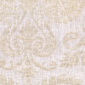 Giselle - Hemp - Creamy beige and pale grey-white coloured 100% linen fabric patterned with a large, simple jacquard style pattern