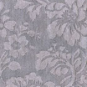 Rosalie - Elephant - Cotton and polyester blend fabric patterned with large floral, leaf and bud designs in two similar, dark shades of grey