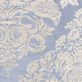 Cecile - Pearl Blue - Off-white and baby blue coloured cotton and polyester blend fabric with a large design of patterns, flowers and leaves