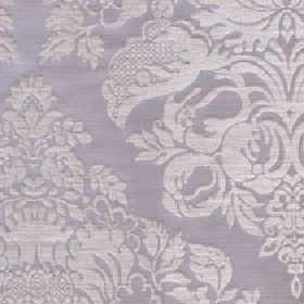 Cecile - Pumice - Fabric made with a large pattern, floral and leaf design in silver on a light grey coloured blend of cotton and polyester