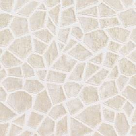 Cavalli - Winter White - Angular crazy paving style shapes printed randomly in a cream design on a white 100% polyester fabric background
