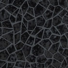 Cavalli - Jet - Charcoal coloured random crazy paving style geometric shapes on a dark grey 100% polyester fabric background