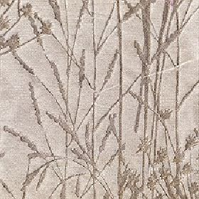 Adagio - Ivory - Simple reeds & grasses printed in dark grey-brown on a light beige coloured polyester & viscose blend fabric background