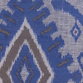Marcia - Sapphire - Fabric made with a tribal style geometric swirl design in Royal blue, dark and light grey and a polyester and linen blend