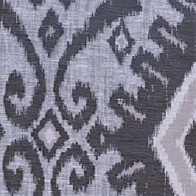 Marcia - Metal - Polyester and linen blend fabric made with a tribal style geometric shape and swirl design in three shades of grey