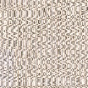 Aria - Warm Sand - Several different light shades of creamy beige making up a thin, wavy vertical line design on polyester and linen fabric