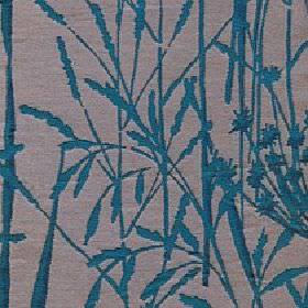 Adagio - Teal - Reed and grass print patterned fabric made from polyester and viscose in deep marine blue and light brown-grey