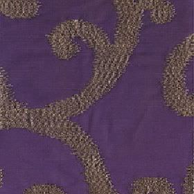 Largo - Grape - Rich Royal purple coloured 100% polyester fabric behind a large, elegant, slightly textured brown-grey swirl pattern