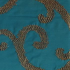 Largo - Teal - Dark brown swirls creating a large elegant, slightly textured design on a teal coloured 100% polyester fabric background