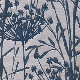 Adagio - Sapphire - Fabric made from light grey polyester and viscose behind a simple reed and grass pattern in a dark shade of navy blue