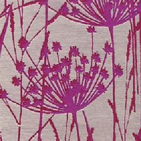 Adagio - Fuchsia - Polyester and viscose blend fabric in light grey with a simple but striking grass and reed design in bright fuschia-pink
