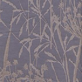 Adagio - Metal - Blue-grey and chrome coloured polyester and viscose blend fabric featuring a simple design of large grasses and reeds