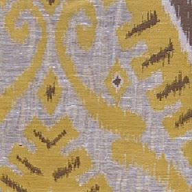 Marcia - Golden Yellow - Tribal style swirls and geometric shapes on green-gold, dark brown and light grey coloured polyester and linen fabr