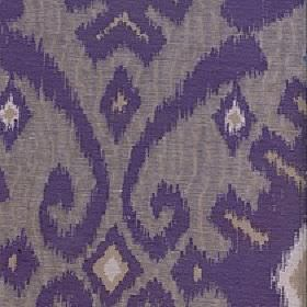 Marcia - Grape - Polyester and linen blended together into a purple and grey coloured fabric with a tribal style geometric swirl design