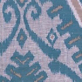 Marcia - Teal - Marine blue, light brown and pink-grey coloured tribal style geometric shapes and swirls on polyester and linen fabric