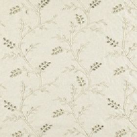 Bianca - Beige - Small, delicate leaves and wavy lines patterning putty coloured polyester, linen and viscose fabric in light grey shades