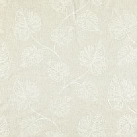 Cressida - Lichen - White and pale grey coloured viscose and linen blend fabric featuring a very subtle, stylish leaf print