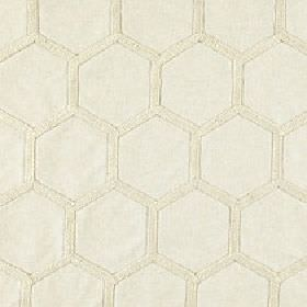 Cordelia - Sandshell - Two very similar shades of ivory making up a simple honeycomb style hexagon design on polyester, viscose & linen fabr