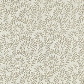 Beatrice - Taupe - Small light grey leaves swirling over a pale grey viscose and linen blend fabric background