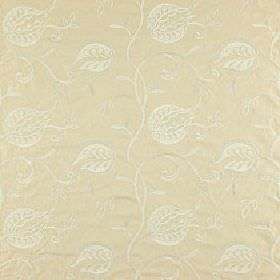 Belinda - Oyster - Polyester, linen and viscose fabric made in light cream, with a subtle, elegant, off-white floral, leaf and swirl design