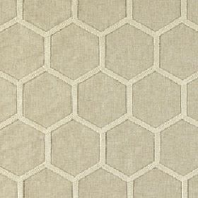 Perdita - Fawn - Fabric made from light grey and chalk white polyester, viscose and linen, with a simple honeycomb style hexagon pattern