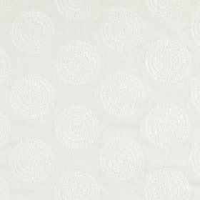 Claribel - Feather Grey - Very pale grey viscose and linen blend fabric patterned repeatedly with very subtle white circles