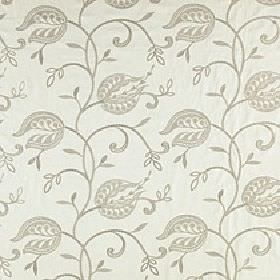 Imogen - Pebble - Stylised florals, small leaves & wavy lines swirling over viscose-linen fabric made in 2 different light shades of grey