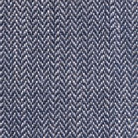 Talia - Stormy Sea - Linen, viscose, polyester and cotton blend fabric woven with a white, light grey and midnight blue herringbone pattern